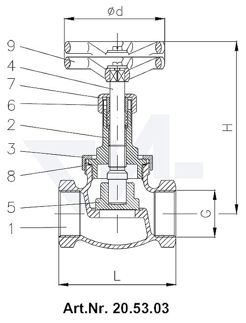 Клапан невозвратно-запорный муфтовый, Rg 5/SoMs 59 c контргайкой тип 20.53.03 / 20.53.04
