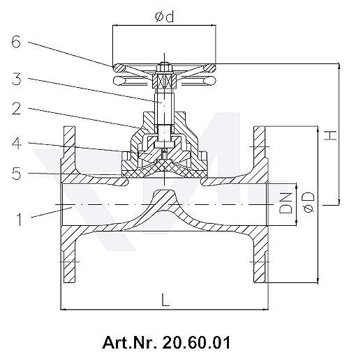 Клапан мембранный, без уплотнения шпинделя, Rg 5/SoMs 59 с выдвижным шпинделем, мембрана из EPDM тип 20.60.01 / 20.60.02