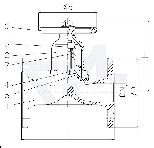 Клапан мембранный проходной фланцевый, без уплотнения шпинделя, Rg 5/SoMs 59 с невыдвижным шпинделем, мембрана из EPDM тип 20.61.01
