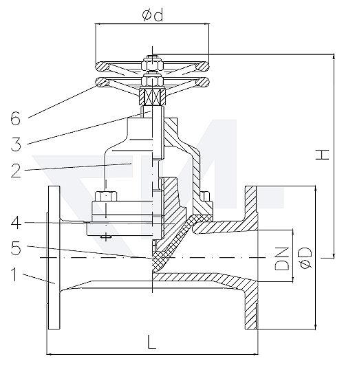 Клапан мембранный проходной фланцевый, Тип KB, Rg 5/SoMs 59 полнопроходной, без уплотнения шпинделя, с выдвижным шпинделем, мембрана из NBR