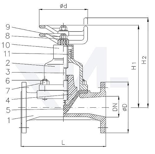 Клапан мембранный проходной фланцевый VG 85238, Gbz 10/CuSn 6 полнопроходной, без уплотнения шпинделя, с выдвижным шпинделем, c камерной мембраной из NBR и индикатора положения тип 20.62.02
