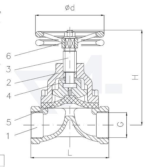 Клапаны мембранные без уплотнения шпинделя, Rg 5/SoMs 59 с выдвижным шпинделем, мембрана из EPDM тип 20.65.01