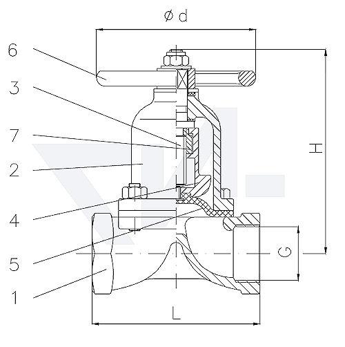 Клапаны мембранные без уплотнения шпинделя, Rg 5/SoMs 59 с невыдвижным шпинделем, мембрана из EPDM тип 20.66.01