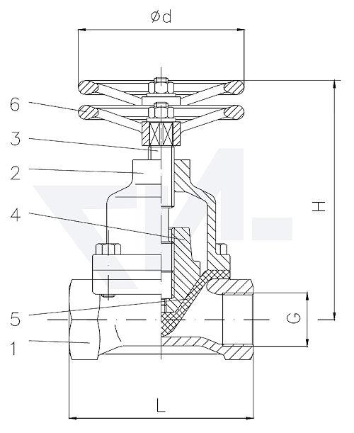 Клапаны мембранные полнопроходной, Тип KB, Rg 5/SoMs 59 без уплотнения шпинделя, с выдвижным шпинделем, мембрана из NBR тип 20.67.01