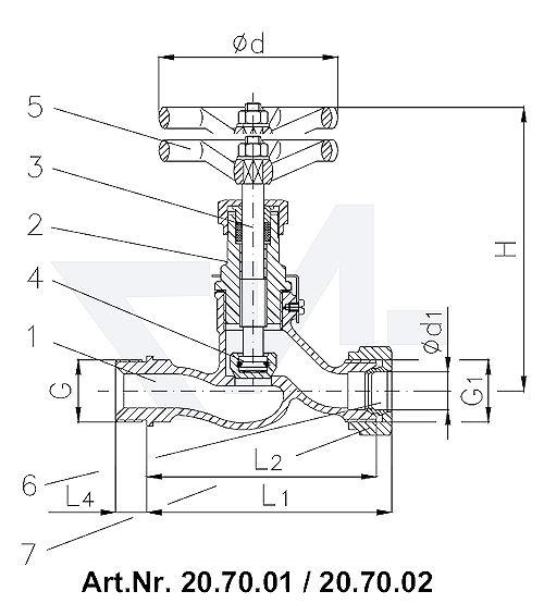 Клапан запорный штуцерный проходной DIN 86501 тип 20.70.01 / 20.70.02