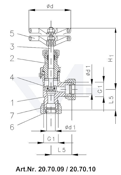 Клапан запорный штуцерный угловой DIN 86501, Rg 5/SoMs 59 впуск и выпуск: врезное обжимное кольцо из латуни PN40 тип 20.70.09 / 20.71.09