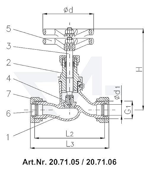 Клапан запорный штуцерный проходной DIN 86501, Rg 5/SoMs 59 врезное кольцо из латуни впуск и выпуск: врезное обжимное кольцо тип 20.70.05 / 20.71.05