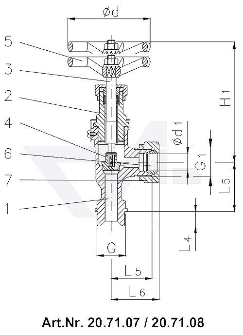Клапан запорный штуцерный угловой DIN 86501, Rg 5/SoMs 59 врезное кольцо из латуни Наружная резьба, врезное обжимное кольцо PN 40 тип 20.70.07 / 20.71.07