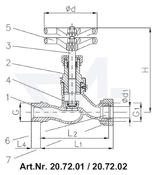 Клапан PN40 запорный штуцерный проходной DIN 86511, Rg 5/SoMs 59 штуцер под пайку медь (Cu) наружная резьба, врезное обжимное кольцо тип 20.72.01 / 20.72.02 с верхней частью устойчивой к морской воде без лат. внутренностей, Rg 5/CuSn 6