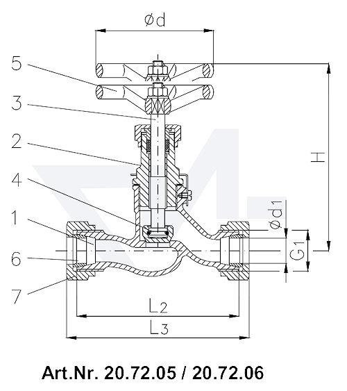 Клапан запорный штуцерный проходной DIN 86511, Rg 5/SoMs 59 штуцер под пайку медь (Cu) впуск и выпуск: врезное обжимное кольцо