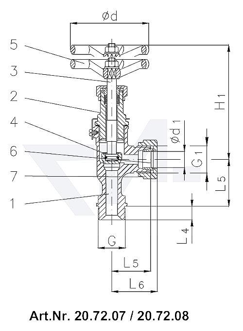 Клапан запорный штуцерный угловой DIN 86511, Rg 5/SoMs 59 штуцер под пайку медь (Cu)