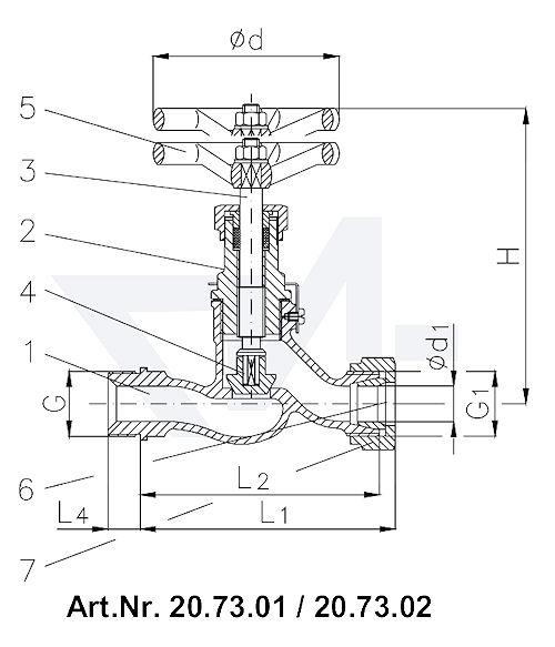 Клапан запорный штуцерный проходной DIN 86512, Rg 5/SoMs 59 клапан PN40 невозвратно-запорный штуцер под пайку медь (Cu) тип 20.73.01