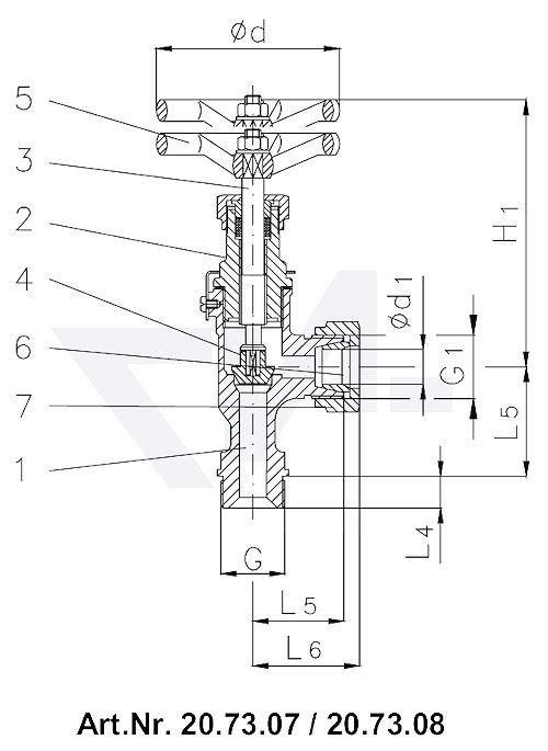 Клапан запорный штуцерный угловой DIN 86512, Rg 5/SoMs 59 клапан невозвратно-запорный штуцер под пайку медь (Cu) тип 20.73.07 / 20.73.08