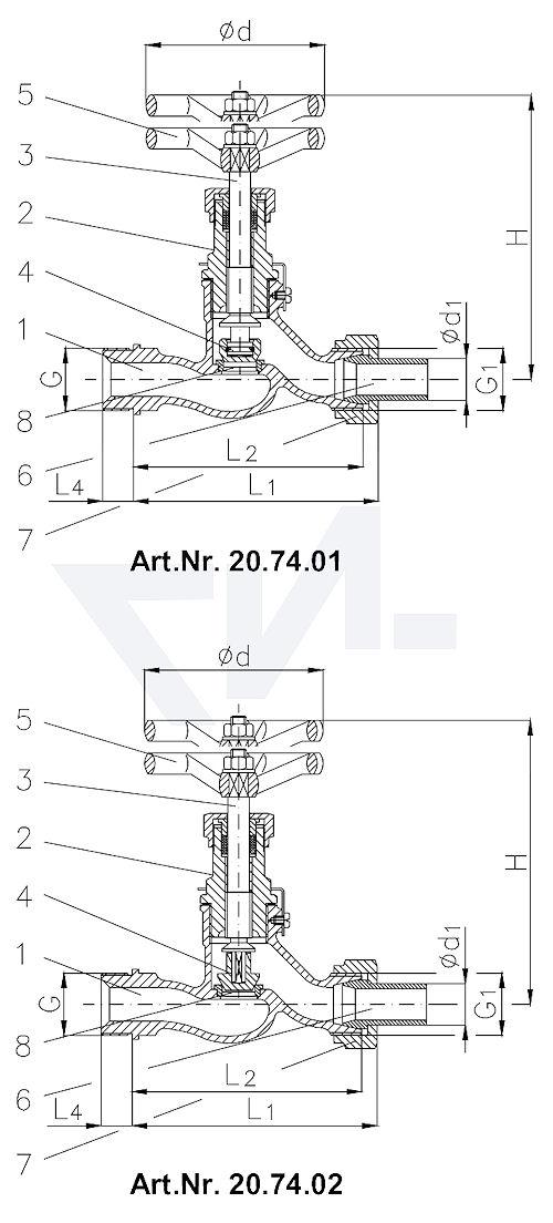 Клапан запорный штуцерный проходной DIN 86551, Сталь/нерж. сталь с соединением под сварку из стали тип 20.74.01