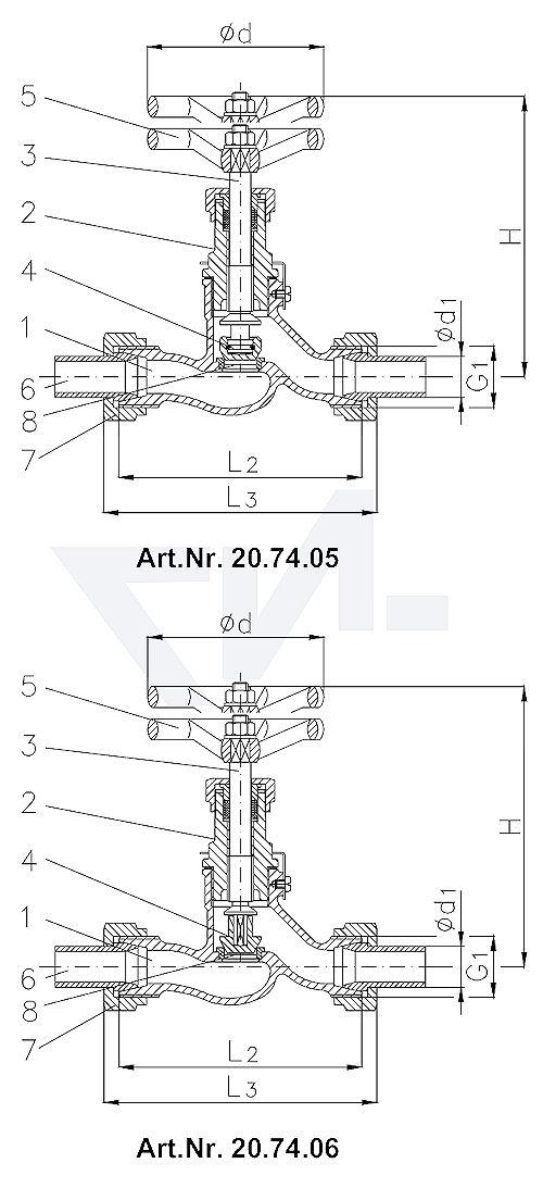 Клапан запорный штуцерный проходной DIN 86551, Сталь/нерж. сталь с соединением под сварку из стали тип 20.74.05 / 20.74.06