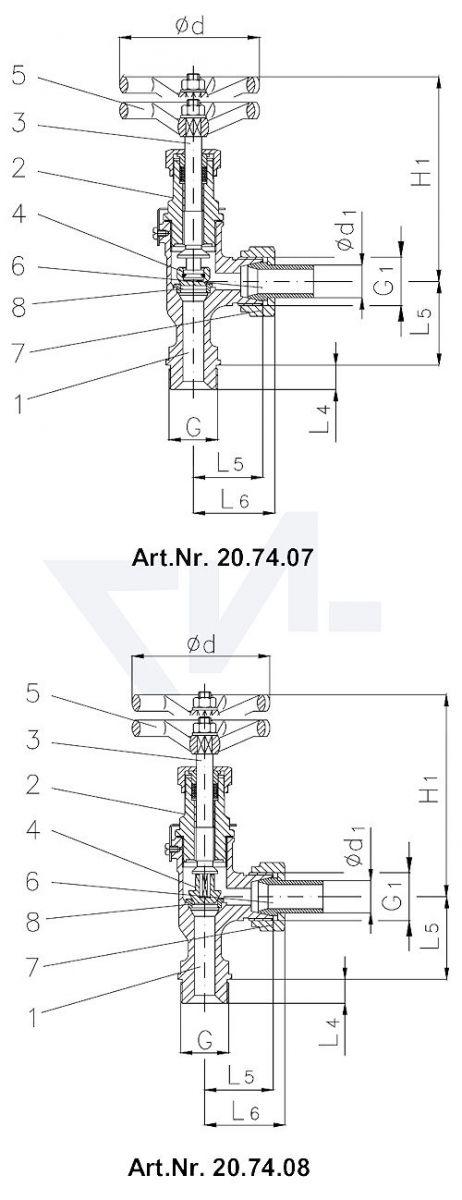 Клапан запорный штуцерный угловой DIN 86551, Сталь/нерж. сталь с соединением под сварку из стали тип 20.74.07 / 20.74.08