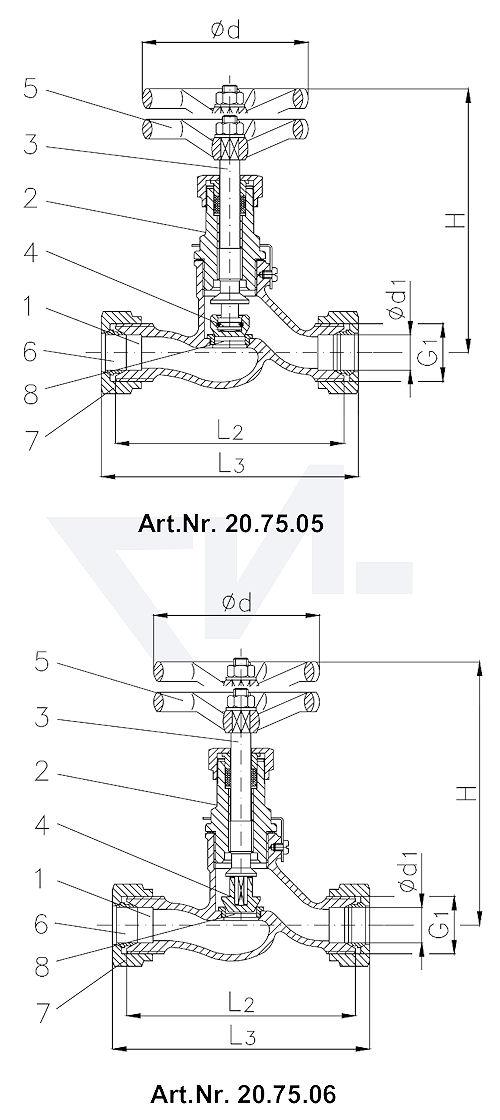 Клапан запорный штуцерный проходной DIN 86552, Сталь/нерж. сталь с врезным обжимным кольцом из стали впуск и выпуск: врезное обжимное кольцо PN100 тип 20.75.05 / 20.75.06 +7 (812) 296-13-50, 448-43-97, 313-07-73
