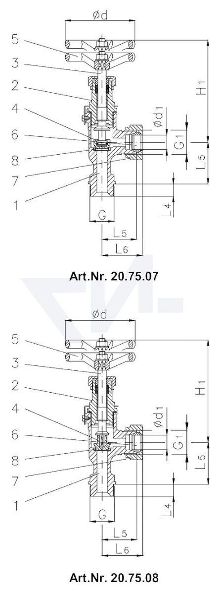 Клапан запорный штуцерный угловой DIN 86552, Сталь/нерж. сталь с врезным обжимным кольцом из стали Наружная резьба, врезное обжимное кольцо PN100 тип 20.75.07 / 20.75.08