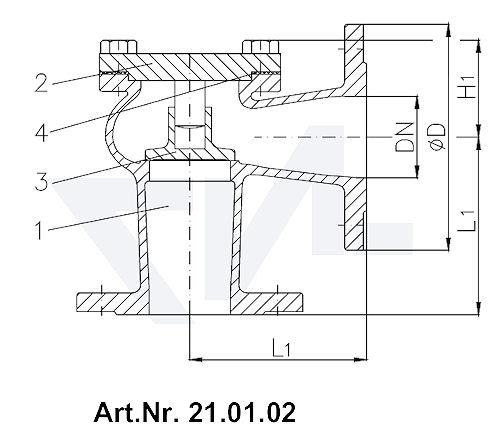 Клапан невозвратный фланцевый DIN 86262, Rg 5 с подсоединением крышки на фланец тип 21.01.01 / 21.01.02