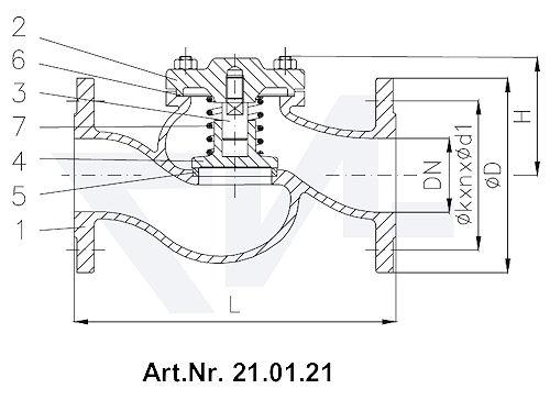 Клапан невозвратный фланцевый DIN 86253-01, GG 25/нерж. сталь с подпружиниванием тип 21.01.21
