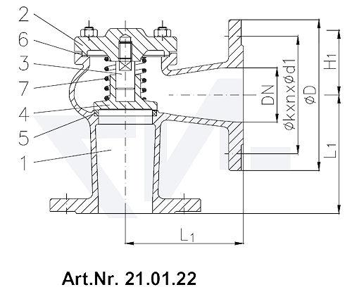 Клапан невозвратный фланцевый DIN 86253-01, GG 25/нерж. сталь с подпружиниванием тип 21.01.22