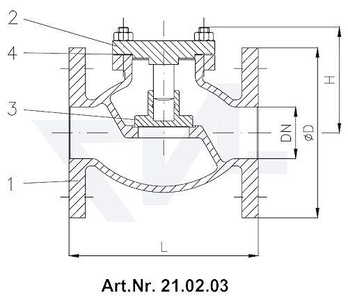 Клапан невозвратный фланцевый проходной Тип 1270/71-LK, Rg 5 с подсоединением крышки на фланец тип 21.02.03