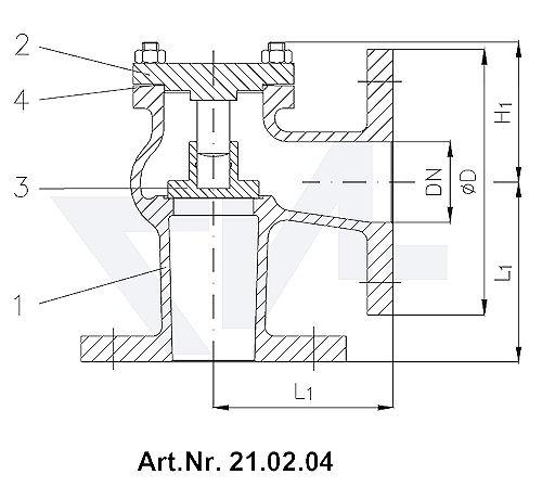Клапан невозвратный фланцевый угловой Тип 1270/71-LK, Rg 5 с подсоединением крышки на фланец тип 21.02.04