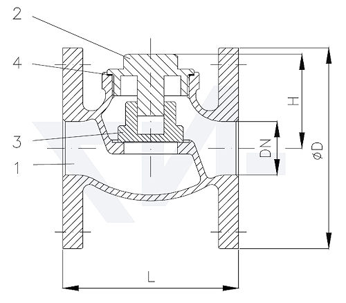 Клапан невозвратный фланцевый проходной, Rg 5 с резьбовой крышкой корпуса тип 21.03.03