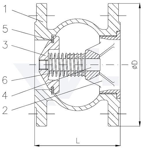 Клапан-превентор обратного потока, Rg 5 с внутренним подпружинивнием, прокладка EPDM / сертифицирован KTW тип 21.05.01