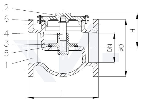 Клапан невозвратный фланцевый проходной DIN 86258 сверхлегкая серия, Gbz 10 тип 21.25.03