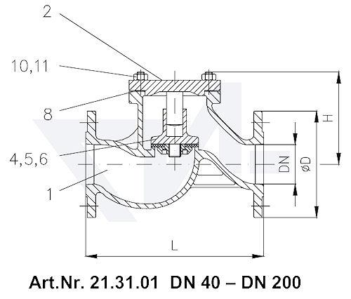 Клапан невозвратный фланцевый проходной VG 85033, Gbz 10 тип 21.31.01