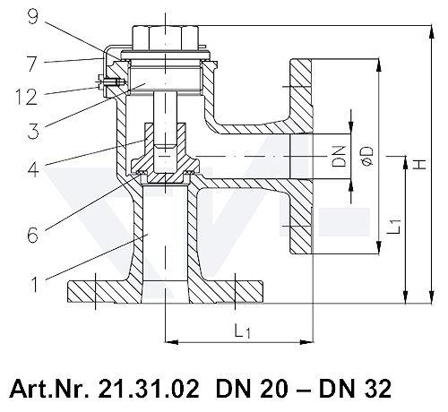 Клапан невозвратный фланцевый угловой VG 85034, Gbz 10 тип 21.31.02