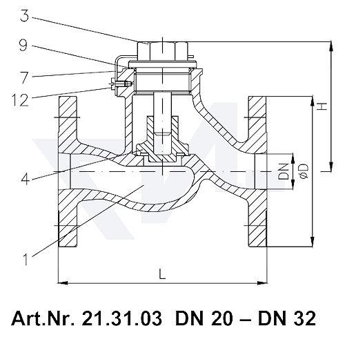 Клапан невозвратный фланцевый проходной VG 85033, Gbz 10 тип 21.31.03