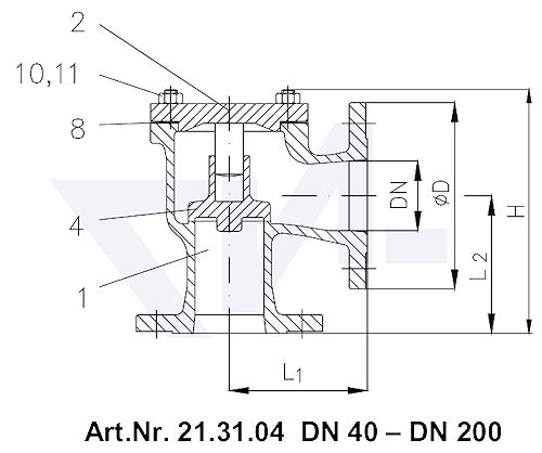 Клапан невозвратный фланцевый угловой VG 85034, Gbz 10 тип 21.31.04