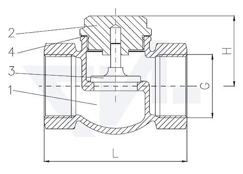 Клапан невозвратный проходной муфтовый, Rg 5 с металлическим уплотнением тип 21.50.01