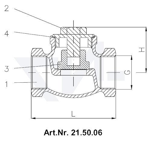 Клапан невозвратный муфтовый, Rg 5 с резьбовой крышкой корпуса, металлическое уплотнение тип 21.50.06