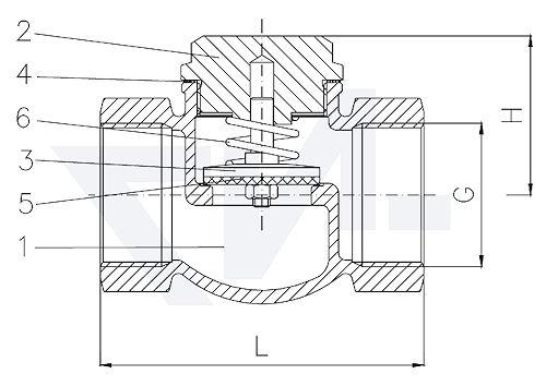 Клапан невозвратный проходной муфтовый DIN 3845/2, Rg 5 с резьбовой крышкой корпуса, с PTFE - прокладкой и пружиной тип 21.50.81