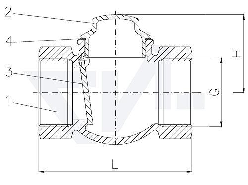 Захлопка муфтовая проходная невозвратная, Ms 58 для горизонтального и вертикального монтажа, с металлическим уплотнением тип 21.51.01