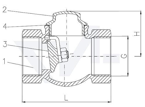 Захлопка муфтовая проходная невозвратная, Rg 5 для горизонтального и вертикального монтажа, с металлическим уплотнением тип 21.51.01
