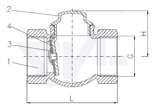 Захлопка муфтовая проходная невозвратная, Ms 58 для горизонтального и вертикального монтажа, мягкое уплотнение EPDM тип 21.51.81