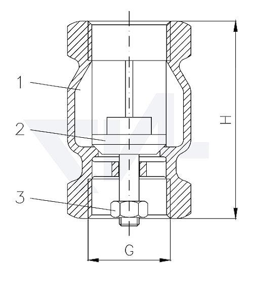 Клапан невозвратный муфтовый, Rg 5 для установки в вертикальном положении тип 21.55.02
