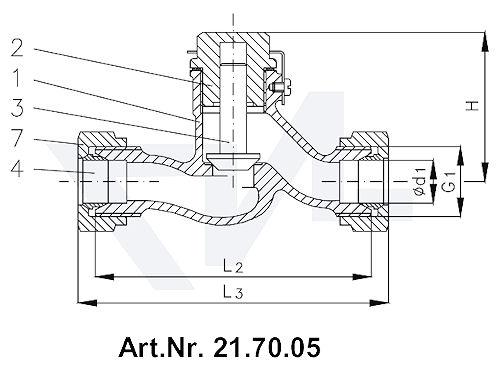 Клапан невозвратный штуцерный тип 21.70.05 с врезным кольцом