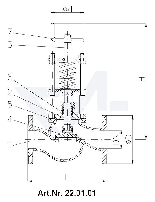 Клапан отливной фланцевый DIN-длина, Rg 5/SoMs 59 со столбовой насадкой и пружинным нагружением Регулируемое давление открытия DN 15-300 от 0,1-0,5 bar, DN 350-500 от 0,1-0,2 bar тип 22.01.01 / 22.01.02