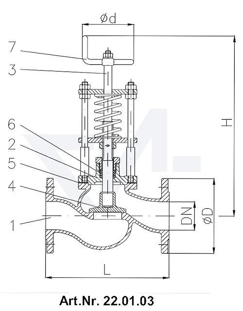 Клапан отливной невозвратно-запорный фланцевый DIN-длина, Rg 5/SoMs 59 со столбовой насадкой и пружинным нагружением Регулируемое давление открытия DN 15-300 от 0,1-0,5 bar, DN 350-500 от 0,1-0,2 bar тип 22.01.03 / 22.01.04