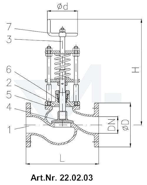 Клапан отливной невозвратно-запорный фланцевый короткой модели, Rg 5/SoMs 59 со столбовой насадкой и пружинным нагружением, регулируемое давление открытия от 0,1-0,5 bar тип 22.02.03 / 22.02.04