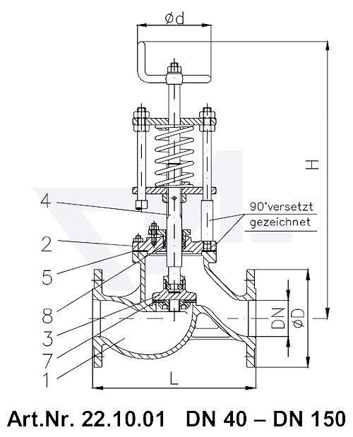 Клапан отливной проходной фланцевыйVG-длина, Gbz 10/CuSn 6 со столбовой насадкой и пружинным нагружением, регулируемое давление открытия от 0,1-0,5 bar тип 22.10.01