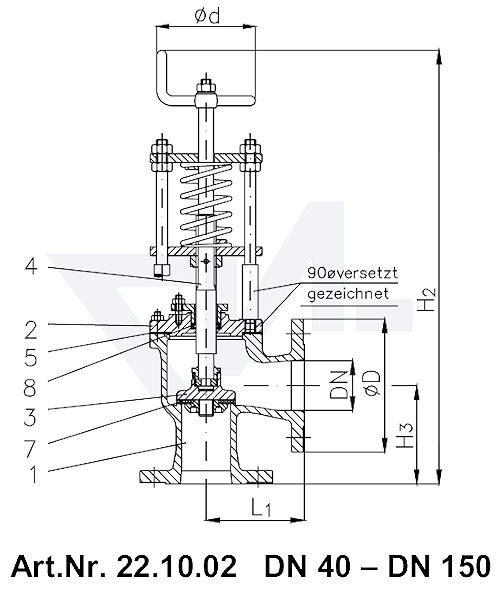 Клапан отливной угловой фланцевый VG-длина, Gbz 10/CuSn 6 со столбовой насадкой и пружинным нагружением, регулируемое давление открытия от 0,1-0,5 bar тип 22.10.02