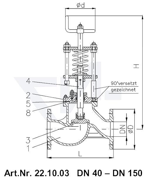 Клапан отливной проходной фланцевыйVG-длина, Gbz 10/CuSn 6 со столбовой насадкой и пружинным нагружением, регулируемое давление открытия от 0,1-0,5 bar тип 22.10.03