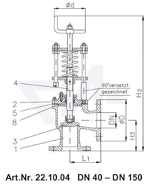 Клапан отливной невозвратно-запорный фланцевый короткой модели, Rg 5/SoMs 59 со столбовой насадкой и пружинным нагружением, регулируемое давление открытия от 0,1-0,5 bar тип 22.02.04