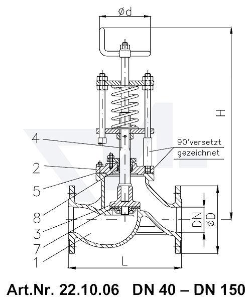 Клапан отливной невозвратно-запорный проходной фланцевый VG-длина, Gbz 10/CuSn 6 со столбовой насадкой и пружинным нагружением, регулируемое давление открытия от 0,1-0,5 bar тип 22.10.06